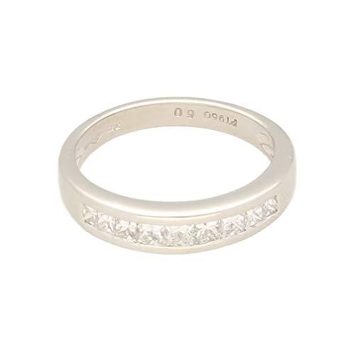 Anillo de eternidad de platino de 0,50 quilates con diamante de corte princesa (tamaño K), 4 mm de ancho   Anillo de lujo para mujer