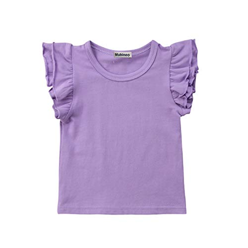 Toddler Baby Girl Basic Plain Ruffle Sleeve Cotton T Shirts Tops Tee Clothes (Purple, 4-5T)
