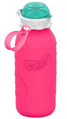 ❤ Squeasy Sport Trinkflasche, 440ml - Faltbare Wasserflasche   Quetschflasche   Auslaufsicher, BPA-frei leicht   Auch für Smoothie (Pink)