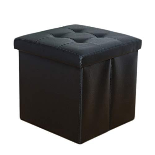 Ottoman Wddwarmhome Pouf Pliable en PVC Boîte de Rangement pour Les ménages (Couleur : Noir)