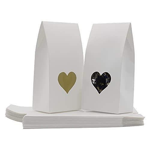 Bolsas Papel Kraft, 25 Piezas Bolsas Papel Regalo, Bolsa De Regalo De Fondo Plano, con Ventana En Forma De Corazón, para Bodas Y Fiestas (Blanco)
