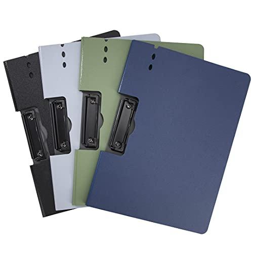 Cartella Portadocumenti A4 Portatile Organizzatore di Documenti con Pinza in Metallo Tavoletta portablocco per Scuola, Ufficio e Viaggi 4Pcs