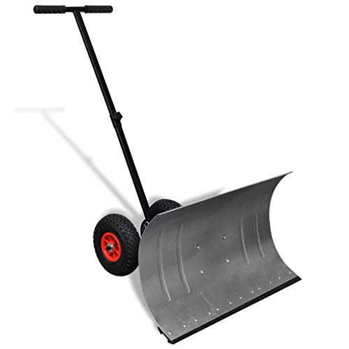 Check Out This Canditree Manuel Snow Plow, Heavy Duty Wheeled Snow Shovel for Driveway or Pavement C...