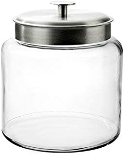 Anchor Hocking Montana Glass Jar with Fresh Sealed Lid, Brushed Metal, 1.5 Gallon (Certified Refurbished)