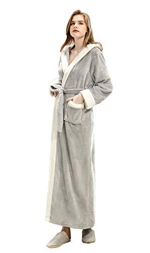 FEOYA - Unisexe Peignoir de Bain Long en Flanelle pour Hiver Peignoir Femme Homme à Capuche Robe de Chambre Polaire Hiver Chaud avec Ceinture Gris Taille XL