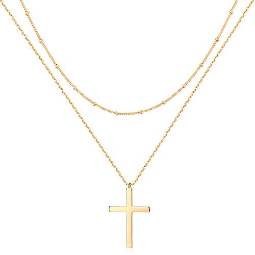 Mevecco Gold Layered Cross Necklace for Women,14K Gold Plated Cute Faith/Jesus Charm Satellite Bead Chain Necklace for Teen Girls…