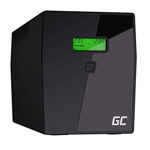 Green Cell® UPS USV Unterbrechungsfreie Stromversorgung 2000VA (1200W) mit Überspannungsschutz 230V Line-Interactive Spannungsregelung AVR USV-Anlage USB/RJ45 4X Schuko Ausgänge LCD Bildschirm