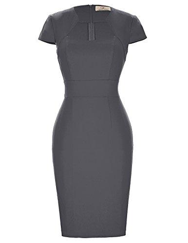 1950s Cap Sleeve Vintage Wiggle Dress Cocktail Pencil Dress M Dark Grey