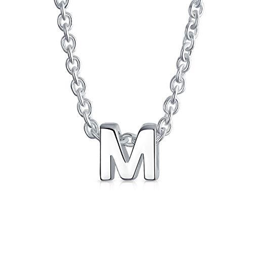 Diminutos Minimalista M Letra Mayúscula Del Inicial A-Z Colgante Collar Inicial Para La Mujer Adolescente 925