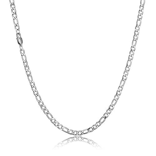 HSWYFCJY Silber Figaro Kette Männer Kette Halskette Edelstahl Herren Ketten Schmuck Halskette für Jungen Geschenk 18/20/22/24 Zoll (22 Zoll)