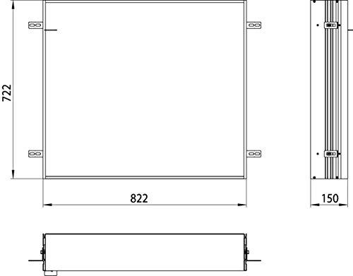 Emco Asis Einbaurahmen Badspiegel (für Lichtspiegelschrank Prime, Maße 822x722x150 mm) 949700011, Grau, Normal