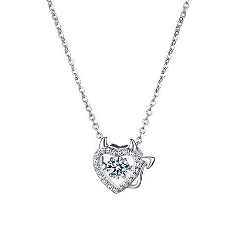 DQANIU Collar de Mujer Amor Colgante de Corazón Plata Brillante Cobre Collares de Mujer,Joyas Regalos para Parientes, Collar Elegante de circonitas para Mujer |Regalos de San Valentín y cumpleaños