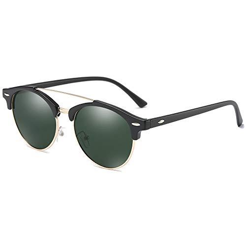 Faus Koco Gafas de sol polarizadas de moda estilo salvaje, con material metálico colorido, negro/marrón/verde para hombres y mujeres con las mismas gafas de sol de conducción (color: verde)