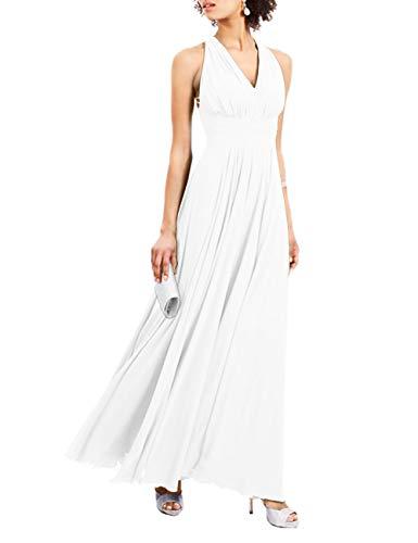 HUINI Damen Lang Ballkleid für Hochzeit Brautjungfernkleider Chiffon Neckholder Abendkleid A-Linie Sommerkleider Weiß 40