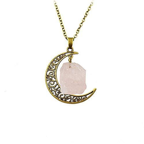 DGSDFGAH Collar De Mujer Vintage Irregular Bronze Moon Pink Spar Quartz Crystals Collares Pendientes De Piedra Natural, para Mujeres, Hombres, Niñas, Regalo De Fiesta De Cumpleaños, Cadena De Clav