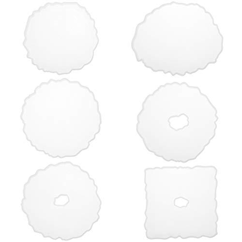 Cysincos Juego de 6 posavasos irregulares de silicona con forma de resina epoxi, molde de resina para moldear, molde de resina para manualidades
