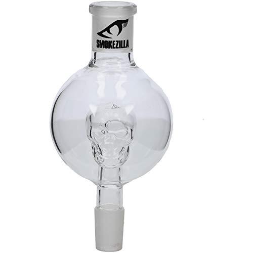 Smokezilla Shisha 18/8 Kopf-Schliff Molassefänger Skull | Der Molassefänger mit eingebautem Glas-Totenkopf! (Glow Skull Blau)