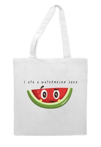 I Ate A Watermelon Seed Fruit And Vegetable (with face) pun jokes tote style shopping bag - white