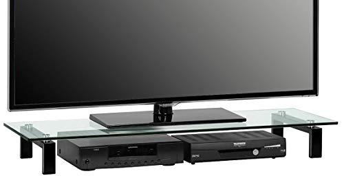 MAJA-Möbel 1605 9599 TV-Board, Metall schwarz - Klarglas, Abmessungen BxHxT: 110 x 12,5 x 35 cm