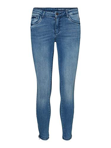 NOISY MAY Damen Skinny Jeans NMKIMMY NR ANKLE ZIP JEANS AZ062LB NOOS 27006065,Blau (Light Blue Denim),W28/L30