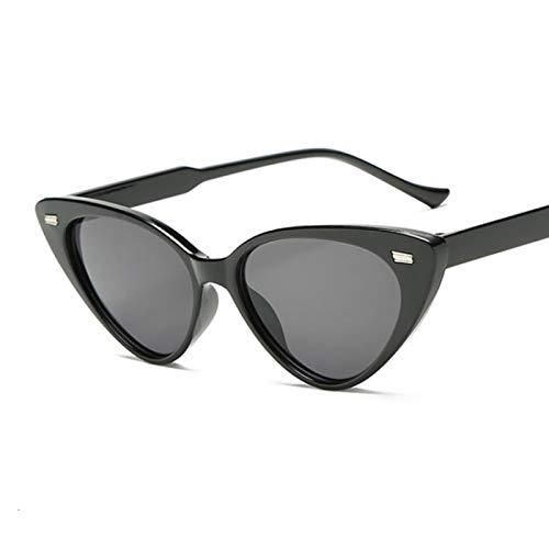 WANGZX Gafas De Sol Negras Retro con Forma De Ojo De Gato Gafas De Sol De Tiro Callejero para Mujer Gafas De Sol De Conducción De Pesca para Hombre Negrogris