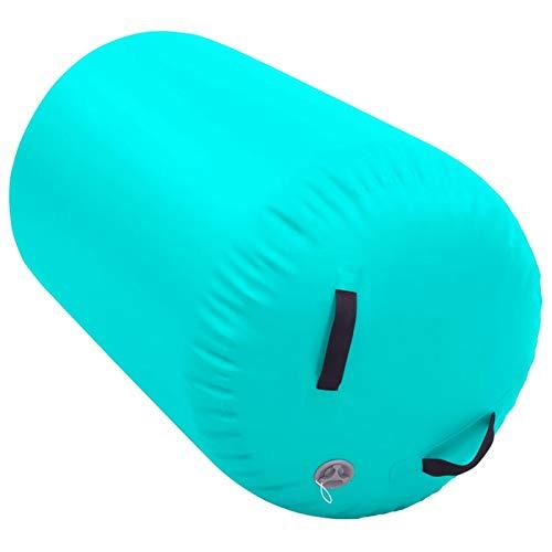 Tidyard Aufblasbare Air Roll, Rollen Yoga Roll Gym Air Barrel Übung Spalte mit Pumpe, 100 x 60 cm Grün