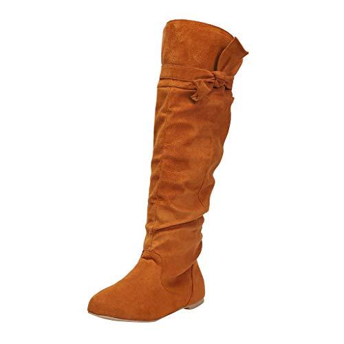 Botas de Mujer,ZARLLE Mujer Moda Rodilla Botas Altas Color sólido Botas Arco Ocio Zapatos Planos,Ante Botas de Danza Zapatillas Casual para Mujer