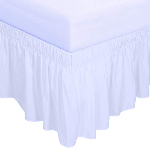 PureFit Wrap Around Ruffled Bed Skirt with Adjustable Elastic Belt - 18 Inch Drop Easy to Put On, Wrinkle Free Bedskirt Dust Ruffles, Bed Frame Cover for Queen, King and C-King Size Beds, White