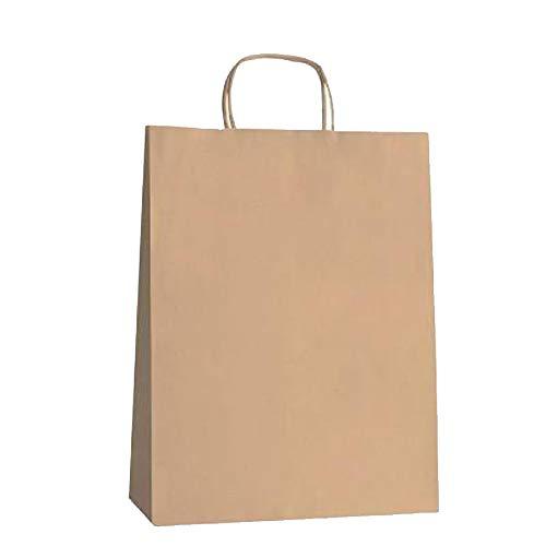 Yearol K01 25 Bolsas papel kraft con asa rizada reutilizables. 30 * 22 * 9 Navidad, regalos, eventos, bodas, cumpleaños, comercio, compra, venta, manualidades, embalaje. Biodegradables reciclables