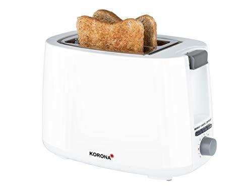 Korona 21131 Toaster | Weiß | 2 Scheiben Toaster mit Brötchenaufsatz sowie einer Auftau- und Aufwärmstufe