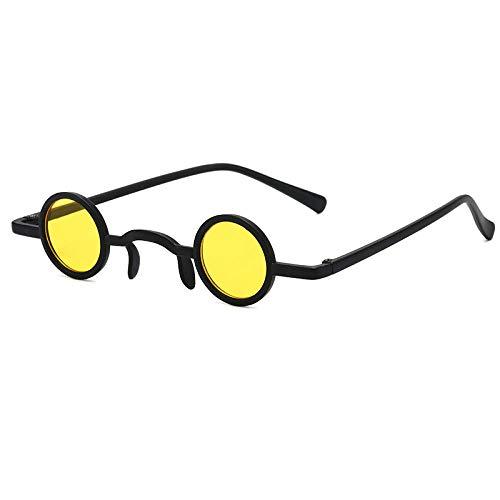chuanglanja Gafas De Sol Juveniles Gafas De Sol Redondas Mujer Hombre Lente De Color Vintage Marco Negro Gafas De Sol De Estilo Lindo UV400-Color-V