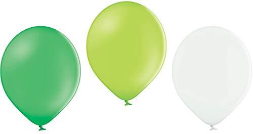 Ballonheld 50 Luftballons 3 Farben apfelgrün, grün, weiß Qualitätsballons 27 cm Ø (Standardgröße B85)