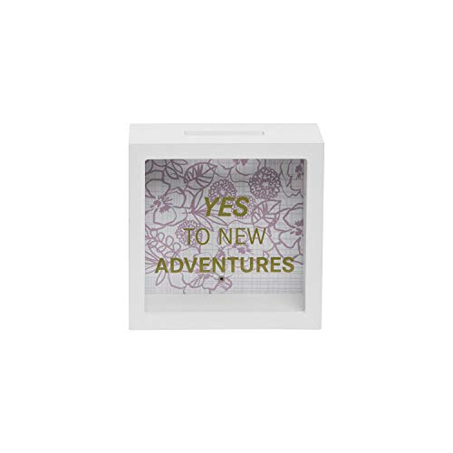 Foreside Home and Garden New Adventures Wooden Bank, White, Green