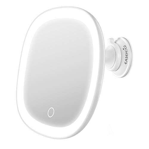 EASEHOLD Magnifying Makeup Mirror wiht Light, Rechargeable Vanity Mirror with Suction Cup, 7X Magnification, Touch Control, 360 Rotation, Portable Illuminated Cosmetic Mirror for Bathroom Travel