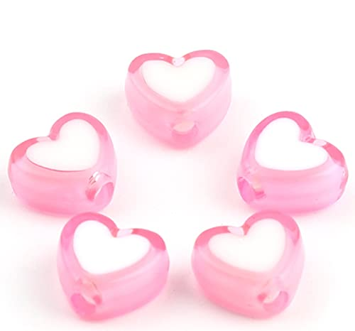 Sadingo Perlas de corazón para enhebrar (300 unidades, 8 x 7 mm), color rosa