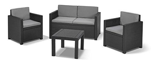"""""""Allibert by Keter"""" Gartenlounge Sofa Victoria, graphit/cool grey, 2-Sitzer, inkl. Sitz- und Rückenkissen, Kunststoff, flache Rattanoptik - 2"""