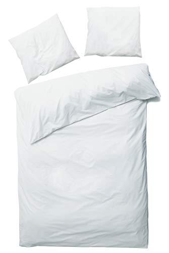 Carpe Sonno Kühle Mako-Satin Bettwäsche in der Übergröße 200 x 220 cm Weiß aus 100% Baumwolle für besten Schlafkomfort – Hotelbettwäsche Set mit Kopfkissen-Bezügen