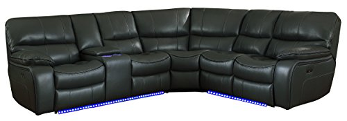 "Homelegance Pecos 105"" x 95"" Leather Gel Power Reclining Sectional with LED, Gray"