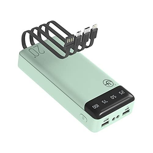 FANGZI Banco de energíaBanco de energía de Capacidad más Grande de 20000 mah, Pantalla Digital LED, Banco de energía Integrado de Cuatro Cables parateléfonoSamsumg Xiaomi,Verde