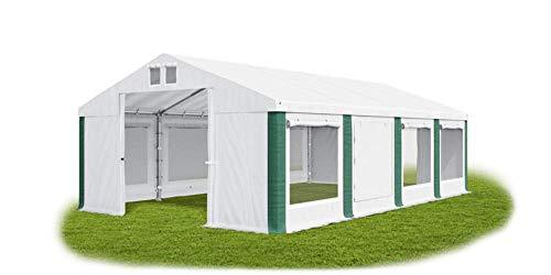 Das Company Party Tent 4 x 8 m Storage Tent Universal Tent Mosquito Net Waterproof White/Green Tent 560 g/m² PVC Tarpaulin High-Quality Garden Tent Summer ISDM