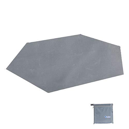 TRIWONDER wasserdichte Hexagonal Hängematte Regenfliege Tarp Footprint Boden Tuch Camping Shelter Sonnenschirm Strand Picknick-Matte für Wandern Picknick (Grau -XL)