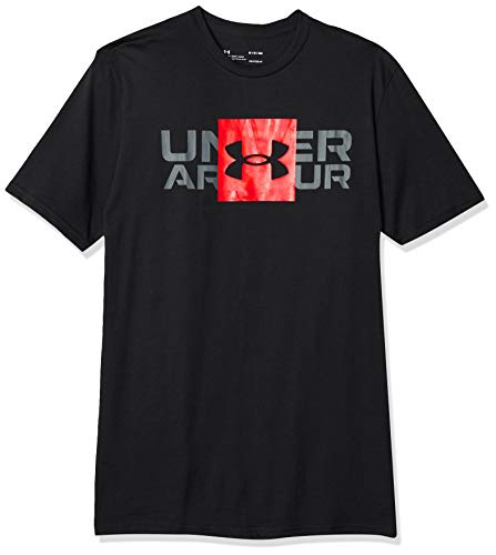 Under Armour Box Logo Wordmark SS, Camiseta Hombre, Negro (Black/Versa Red), L