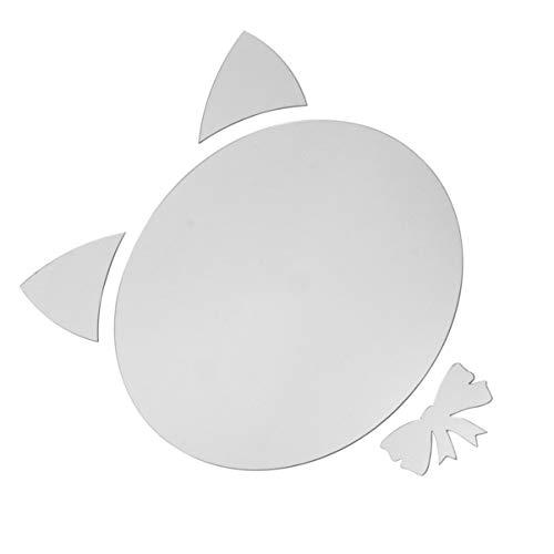 Wakauto Adesivo Acrilico Rotondo Specchio 3D Adesivi Specchio da Parete Specchi Decorativi Adesivi Acrilici per La Casa Soggiorno Camera da Letto (Gatto L)