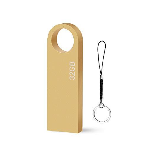 Chiavetta USB 32 GB Mini Pen Drive 32 Giga Metallo USB Key Portatile Pennetta USB 32GB per PC, Laptop, Auto ecc (Oro)