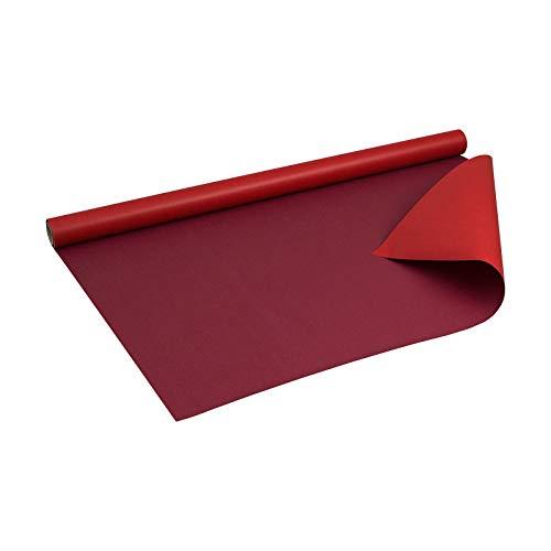 Geschenkpapier ROT und BORDEAUX, zweiseitig bedruckt Kraftpapier, gerippt, 60 g/m², Geburtstagspapier, Weihnachtspapier - 1 Rolle 0,8 x 10 m