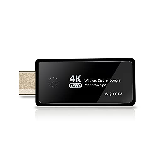 4K/1080P Wireless HDMI Display Dongle Adapter, 2.4G/5G Dual Band Adapter Receiver, Screen Mirroring Miracast Dongle, Compatible for Android/iOS/Windows to TV Monitor Projector