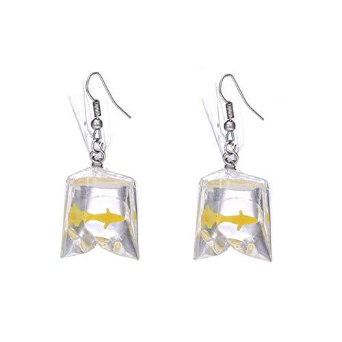 PPX 1 Coppie Orecchini Pendenti da Donna con Ciondolo a Forma di Sacchetto d'Acqua con Pesce Rosso, Splendida Idea Regalo (Giallo)