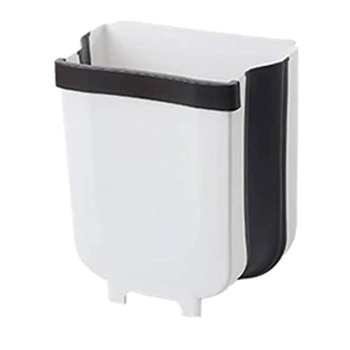Folding Trash Can 5L Waste Bin Kitchen Cabinet Door Hanging Wall Mounted Foldable Garbage Home Outdoor Portable Picnictrash Best for Bathroom Bedroom Counter Top 10'' x 6.9'' 11.26''