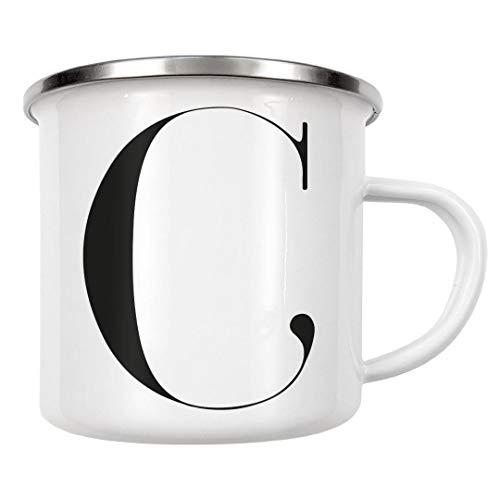 artboxONE Emaille Tasse Minimalistischer Buchstabe C von Dunja Krefft - Emaille Becher Buchstaben/C