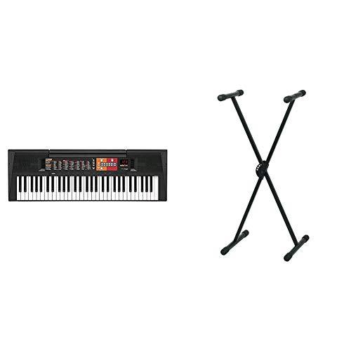 Yamaha PSR-F51Teclado digital portátil para principiantes o estudiantes con 61 teclas y Modo Dúo, color negro + Pure GEWA F900520Soporte de teclado, patas perfil simple,negro